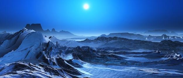 3d-render bedeckt von einer schneelandschaft fantasie Kostenlose Fotos