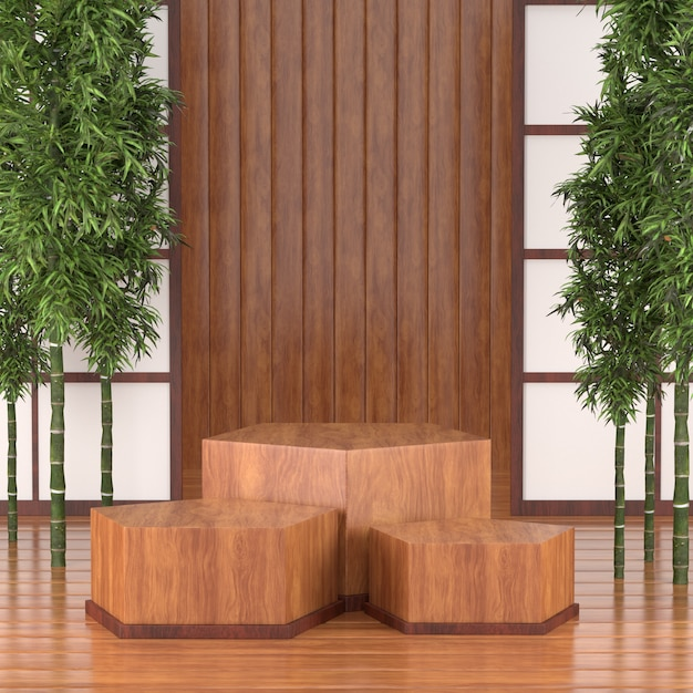 3d-render-podium für kosmetische produkte, 3d-holz-podium japan tradition calture-stil. Premium Fotos