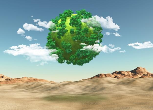 3d render von einem grasbewachsenen globus mit bäumen über eine kargen landschaft Kostenlose Fotos