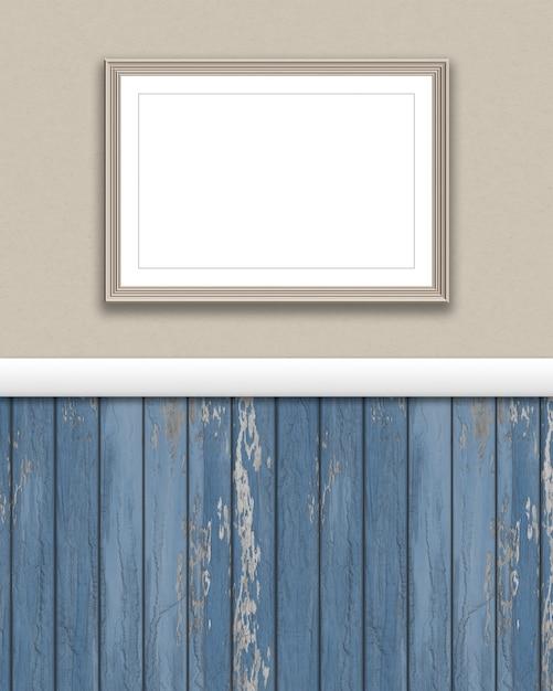 3D render von einem leeren Bilderrahmen auf einer Grunge Wand ...