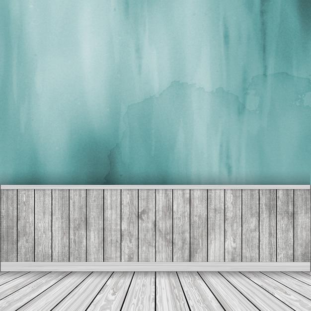 3D render von einem Raum Interieur mit Aquarell Wand und Holzboden ...