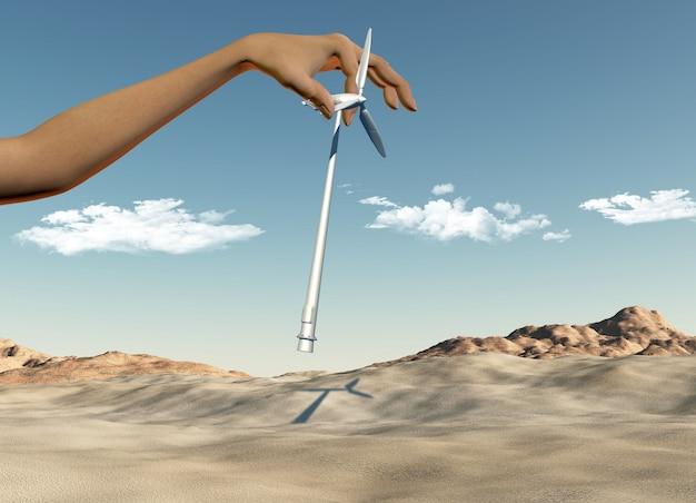 3d render von einer weiblichen hand platzieren windkraftanlagen in einer wüste Kostenlose Fotos