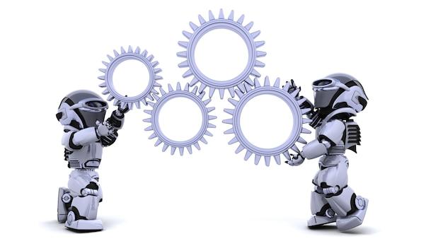3d render von robotern mit getriebemechanismus Kostenlose Fotos