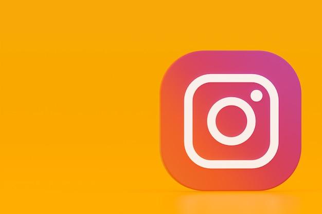 3d-rendering des instagram-anwendungslogos auf gelbem hintergrund Premium Fotos