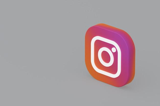 3d-rendering des instagram-anwendungslogos auf grauem hintergrund Premium Fotos
