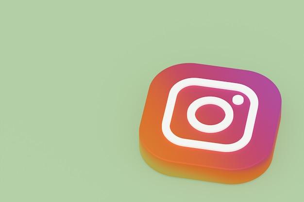 3d-rendering des instagram-anwendungslogos auf grünem hintergrund Premium Fotos
