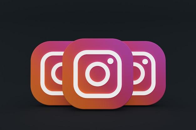 3d-rendering des instagram-anwendungslogos auf schwarzem hintergrund Premium Fotos