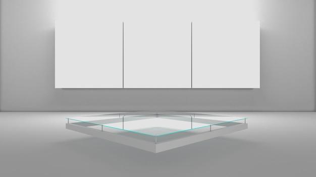 3d-rendering des rechteckpodestes für showprodukt Premium Fotos