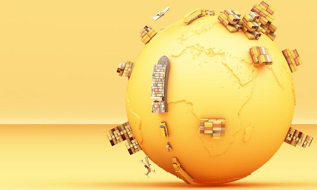 3d-rendering des weltweiten frachtcontainertransports Premium Fotos