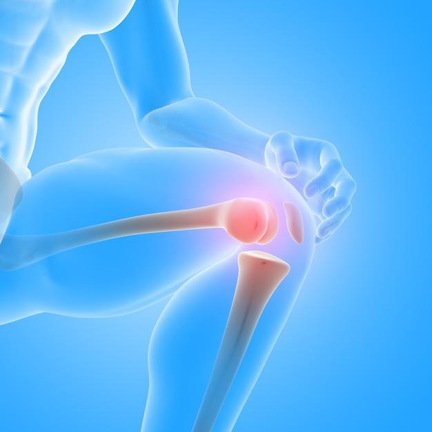 3d-rendering einer männlichen medizinischen figur mit nahaufnahme der knieknochen Kostenlose Fotos