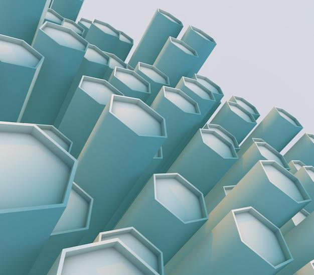 3d-rendering eines abstrakten hintergrunds mit extrudierten abgeschrägten sechsecken Kostenlose Fotos