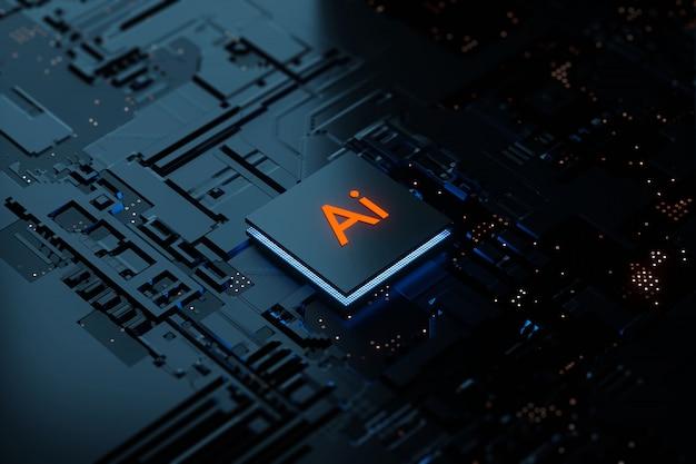 3d-rendering glühende ai-chipsatz-cpu mit künstlicher intelligenz auf der leiterplatte. elektronik- und technologiekonzept. Premium Fotos
