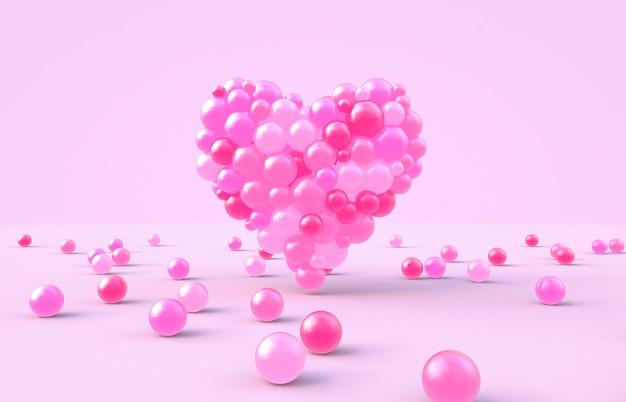3d-rendering. herzform des süßen valentinstags mit rosa süßigkeitskugelhintergrund Premium Fotos
