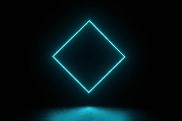 3d-rendering-illustration. futuristischer sci-fi-dunkler leerer raum mit leuchtendem neon. Premium Fotos