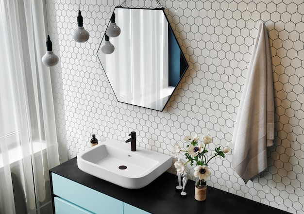 3d-rendering. innenraum eines modernen badezimmers mit sechseckigem spiegel und mosaikwänden. Premium Fotos