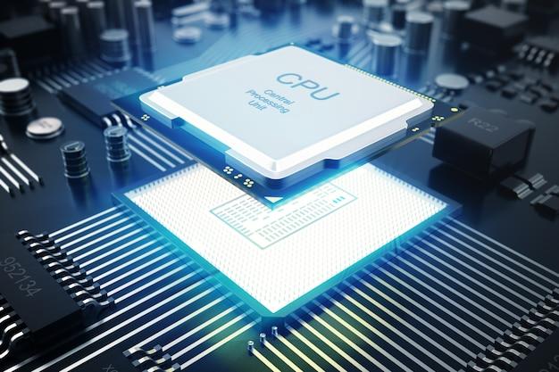 3d-rendering leiterplatte. technologischer hintergrund. cpu-konzept für zentrale computerprozessoren Premium Fotos