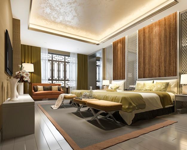 3d Rendering Luxus Chinesische Schlafzimmer Suite Im Resort Hotel Premium Foto