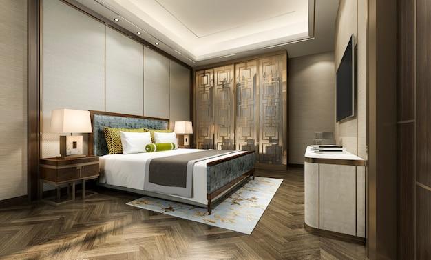 3d Rendering Luxus Moderne Schlafzimmer Suite Im Hotel Mit Kleiderschrank Und Begehbarem Kleiderschrank Mit Chinesischem Stil Dekor Premium Foto