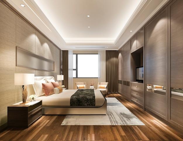 3d Rendering Luxus Moderne Schlafzimmer Suite Im Hotel Premium Foto