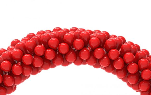 3d-rendering. rote ballone kurven gatter mit dem ausschnittspfad, der auf weiß getrennt wird. Premium Fotos