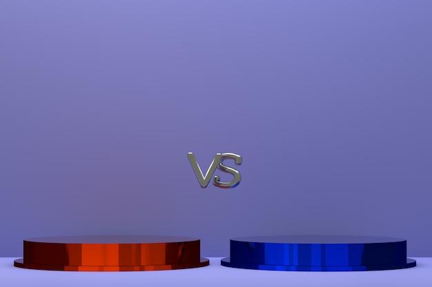 3d-rendering, rotes und blaues podium für kampfkonzept auf abstraktem hintergrund Premium Fotos