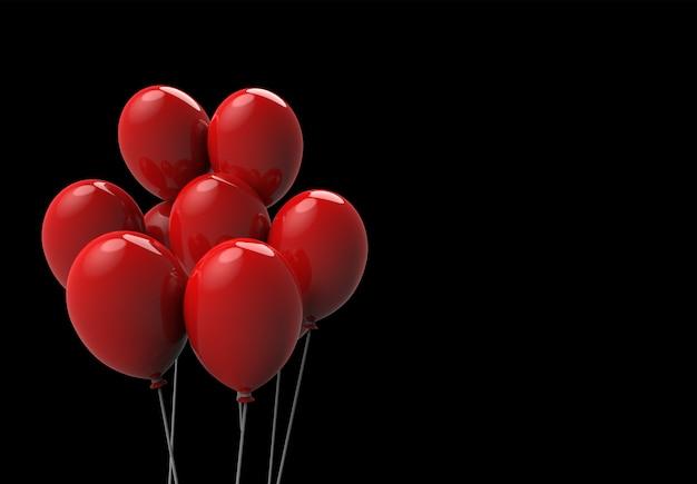 3d-rendering. schwimmende große rote luftballons auf schwarzem hintergrund. horror halloween-objektkonzept Premium Fotos