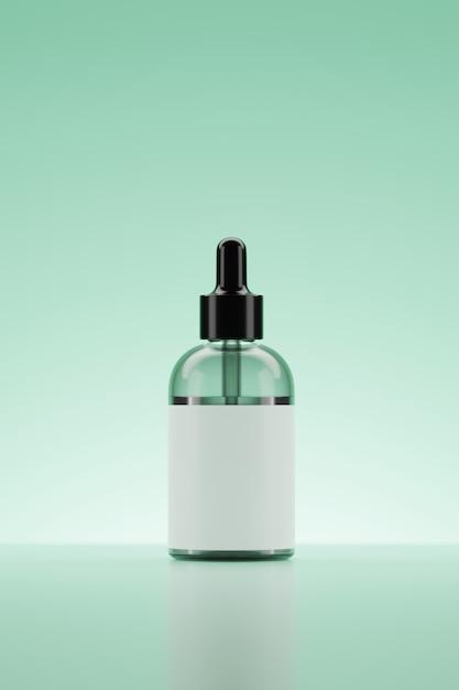 3d rendering serum grüne flasche. Premium Fotos