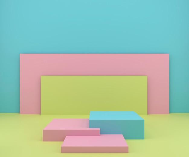 3d-rendering-studio mit geometrischen formen, podium auf dem boden. plattformen für die produktpräsentation Premium Fotos