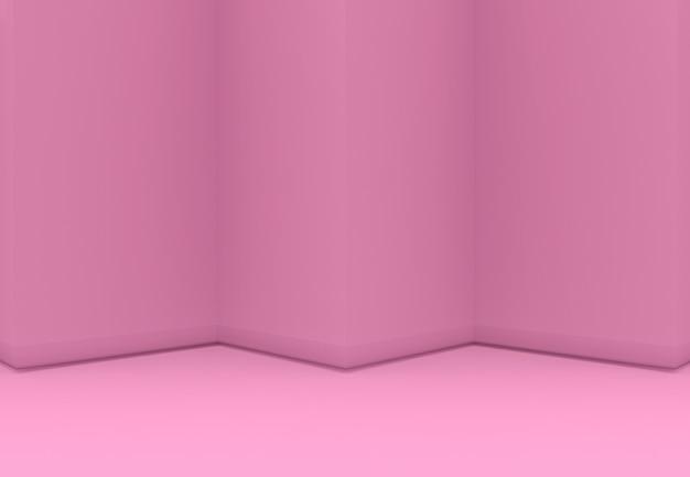 3d-rendering. süßes rosa dreieck zickzack wand und boden backgorund. Premium Fotos