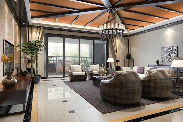 3d-rendering tropischer stil resort suite wohnempfang und lounge Premium Fotos