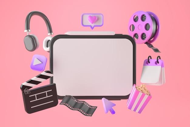 3d-rendering von tablet- und entertainment-apps. Premium Fotos