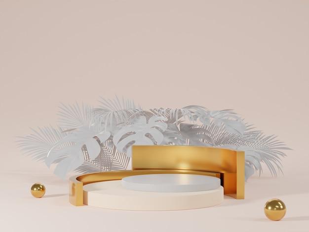 3d-rendering von weiß- und goldpodest mit monsterblättern Premium Fotos