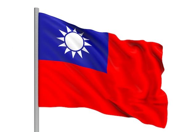 3d-rendering. windig fließende taiwan nationalflagge mit beschneidungspfad Premium Fotos