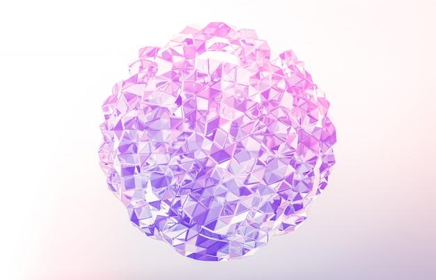 3d rendern abstrakter geometrischer kristall, irisierender, facettierter edelstein. Premium Fotos