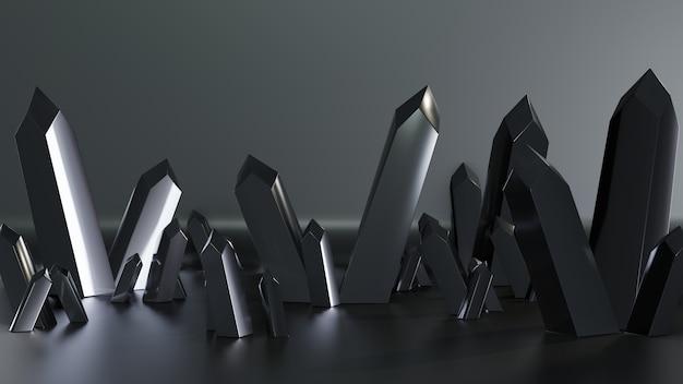 3d rendern quarzkristalle isoliert mit dunkler farbe Premium Fotos