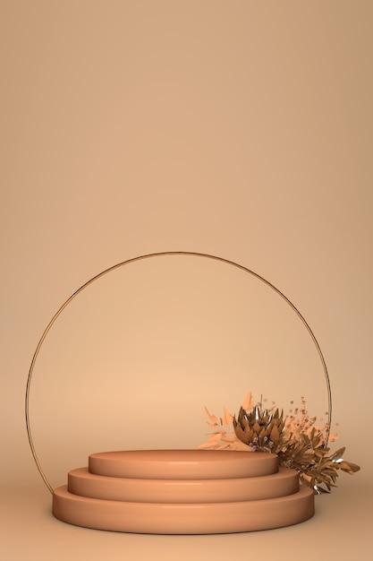 3d rendern, schaufensterständer, kommerzielles produktanzeigesockel, podium, rundbogen, frühlingsblumen lokalisiert auf beigem hintergrund. abstrakte minimale modeplakatschablone Premium Fotos