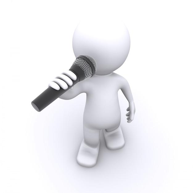 3d-sänger mit mikrofon Premium Fotos