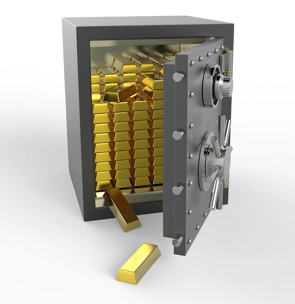 3d safe mit gold Premium Fotos