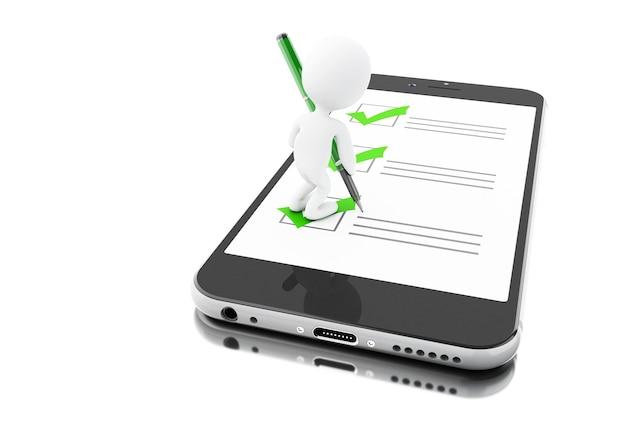 3d smartphone und weiße leute mit markierung und checkliste. online-fragebogen Premium Fotos