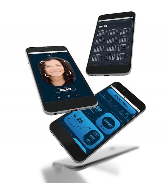 3d-smartphones mit verschiedenen mobilen app-bildschirm Premium Fotos