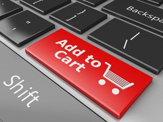 3d-tastatur mit in den warenkorb-button Premium Fotos