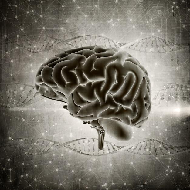 3D übertragen von einem Grunge-Stil Gehirn Bild auf einem DNA ...