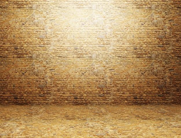 backsteinmauer 3d a 1 4 bertragen von einem schmutzrauminnenraum mit und boden kostenlose fotos kosten