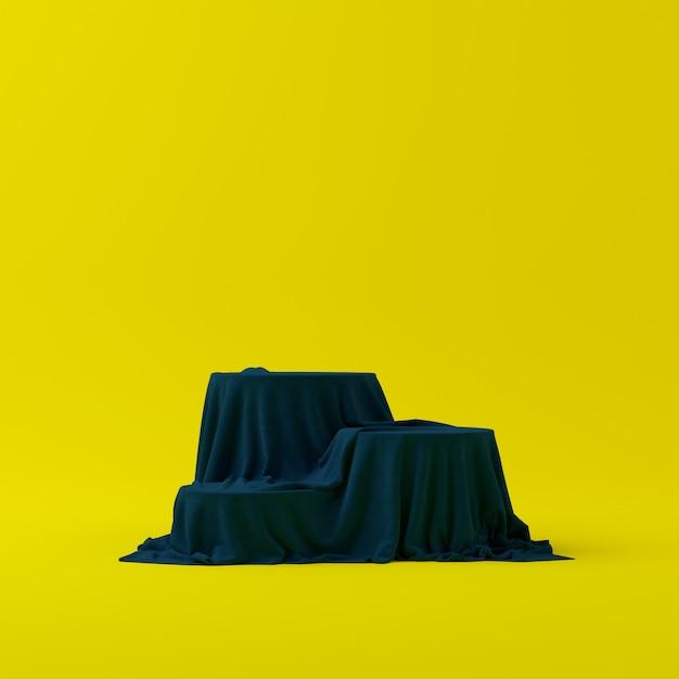 3d übertragen abstrakte geometrieform-podiumszene mit gelbem hintergrund für anzeige und produkt Premium Fotos