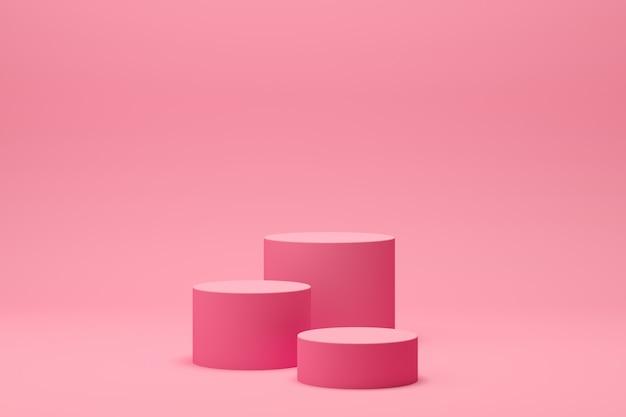 3d übertragen abstrakte geometrieform-podiumszene mit rosa hintergrund für anzeige und produkt Premium Fotos