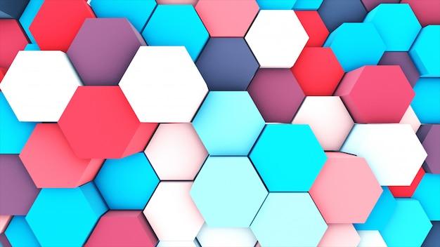 3d übertragen abstraktes buntes pastell viele technischen geometrischen hexagone als hintergrund. Premium Fotos