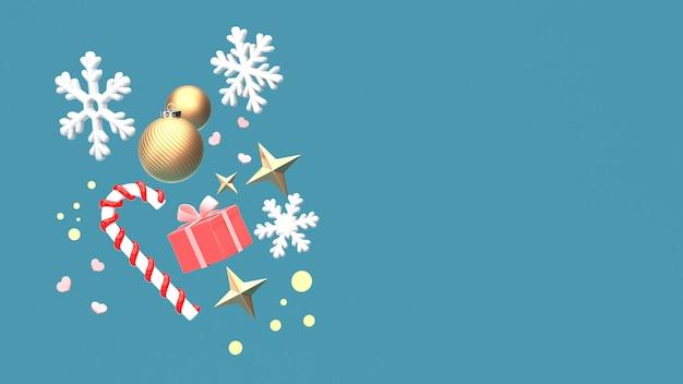 3d übertragen bild des verzierungsisolats des weihnachtsneuen jahres auf kopienraum-blauhintergrund. Premium Fotos