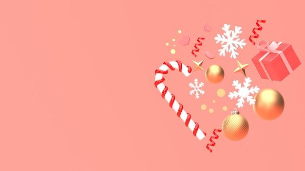 3d übertragen bild des verzierungsisolats des weihnachtsneuen jahres auf kopienraum-rosahintergrund. Premium Fotos