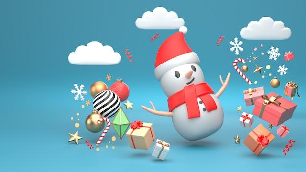 3d übertragen bild des verzierungsisolats des weihnachtsschneemann-neuen jahres auf kopienraum-blauhintergrund. Premium Fotos