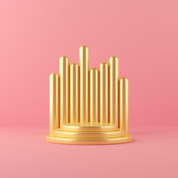 3d übertragen goldabstrakte geometrieform-podiumszene für anzeige und produkt Premium Fotos